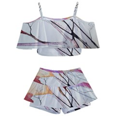 Art Painting Abstract Canvas Kids  Off Shoulder Skirt Bikini