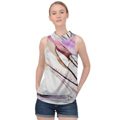 Art Painting Abstract Canvas High Neck Satin Top