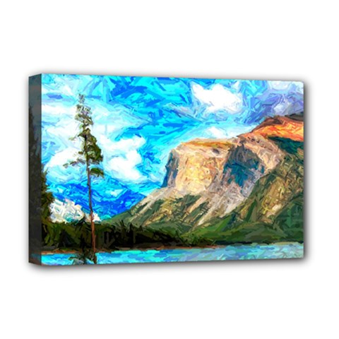 Painting Paintings Mountain Deluxe Canvas 18  X 12  (stretched)