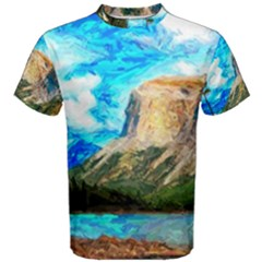 Painting Paintings Mountain Men s Cotton Tee by Pakrebo