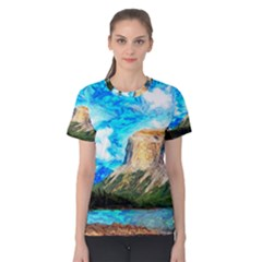 Painting Paintings Mountain Women s Cotton Tee by Pakrebo