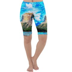 Painting Paintings Mountain Cropped Leggings  by Pakrebo