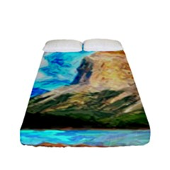 Painting Paintings Mountain Fitted Sheet (full/ Double Size) by Pakrebo