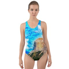 Painting Paintings Mountain Cut Out Back One Piece Swimsuit by Pakrebo