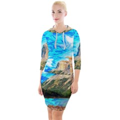 Painting Paintings Mountain Quarter Sleeve Hood Bodycon Dress by Pakrebo