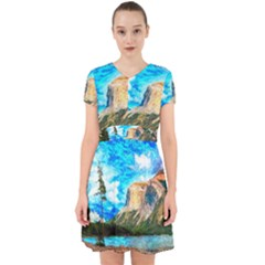 Painting Paintings Mountain Adorable In Chiffon Dress