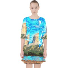 Painting Paintings Mountain Pocket Dress by Pakrebo