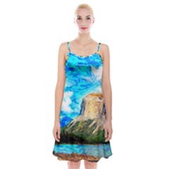 Painting Paintings Mountain Spaghetti Strap Velvet Dress