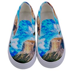 Painting Paintings Mountain Kids  Canvas Slip Ons