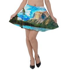 Painting Paintings Mountain Velvet Skater Skirt by Pakrebo