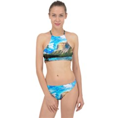 Painting Paintings Mountain Racer Front Bikini Set by Pakrebo