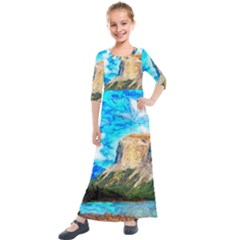 Painting Paintings Mountain Kids  Quarter Sleeve Maxi Dress by Pakrebo