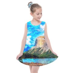 Painting Paintings Mountain Kids  Summer Dress by Pakrebo