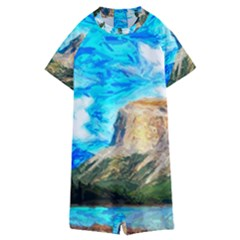 Painting Paintings Mountain Kids  Boyleg Half Suit Swimwear by Pakrebo