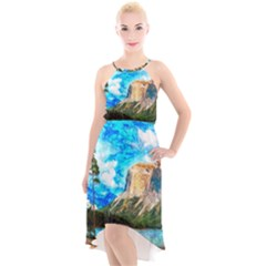 Painting Paintings Mountain High Low Halter Chiffon Dress