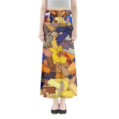 Texture Painting Plot Graffiti Full Length Maxi Skirt