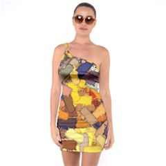 Texture Painting Plot Graffiti One Soulder Bodycon Dress