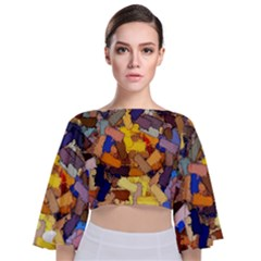 Texture Painting Plot Graffiti Tie Back Butterfly Sleeve Chiffon Top