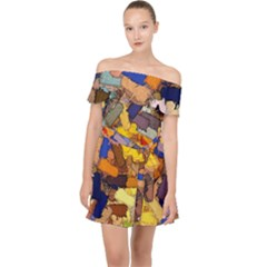 Texture Painting Plot Graffiti Off Shoulder Chiffon Dress