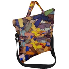 Texture Painting Plot Graffiti Fold Over Handle Tote Bag