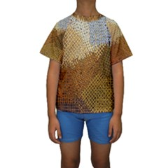 Color Colors Abstract Yellow Brown Kids  Short Sleeve Swimwear