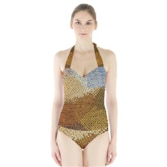 Color Colors Abstract Yellow Brown Halter Swimsuit