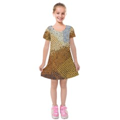 Color Colors Abstract Yellow Brown Kids  Short Sleeve Velvet Dress