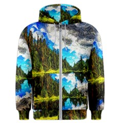 Color Lake Mountain Painting Men s Zipper Hoodie