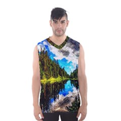 Color Lake Mountain Painting Men s Basketball Tank Top
