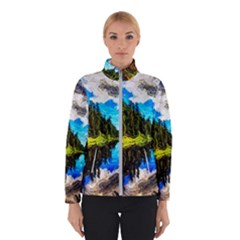 Color Lake Mountain Painting Winter Jacket