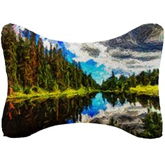 Color Lake Mountain Painting Seat Head Rest Cushion