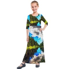 Color Lake Mountain Painting Kids  Quarter Sleeve Maxi Dress by Pakrebo