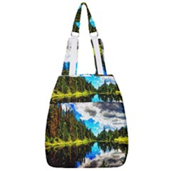 Color Lake Mountain Painting Center Zip Backpack