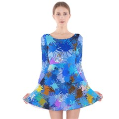 Color Colors Abstract Colorful Long Sleeve Velvet Skater Dress