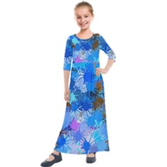 Color Colors Abstract Colorful Kids  Quarter Sleeve Maxi Dress by Pakrebo
