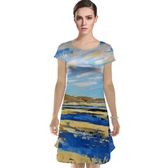 The Landscape Water Blue Painting Cap Sleeve Nightdress