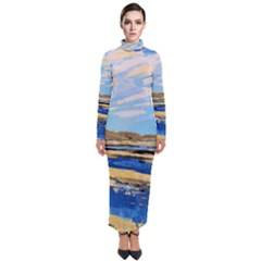The Landscape Water Blue Painting Turtleneck Maxi Dress by Pakrebo