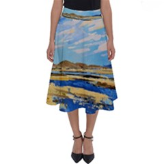 The Landscape Water Blue Painting Perfect Length Midi Skirt by Pakrebo
