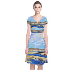 The Landscape Water Blue Painting Short Sleeve Front Wrap Dress