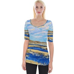 The Landscape Water Blue Painting Wide Neckline Tee by Pakrebo