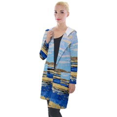 The Landscape Water Blue Painting Hooded Pocket Cardigan