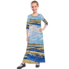 The Landscape Water Blue Painting Kids  Quarter Sleeve Maxi Dress by Pakrebo