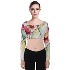 Plant Nature Flowers Foliage Velvet Long Sleeve Crop Top by Pakrebo