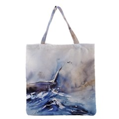 Art Painting Sea Storm Seagull Grocery Tote Bag