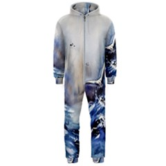 Art Painting Sea Storm Seagull Hooded Jumpsuit (men)  by Pakrebo