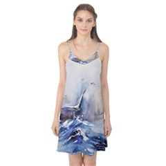 Art Painting Sea Storm Seagull Camis Nightgown