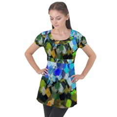 Texture Color Colors Network Puff Sleeve Tunic Top