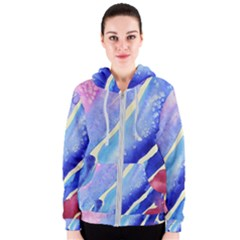 Painting Abstract Blue Pink Spots Women s Zipper Hoodie