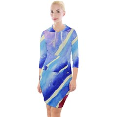 Painting Abstract Blue Pink Spots Quarter Sleeve Hood Bodycon Dress by Pakrebo