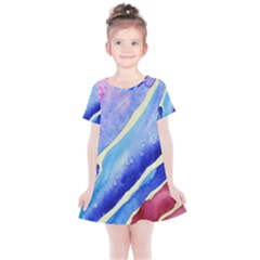 Painting Abstract Blue Pink Spots Kids  Simple Cotton Dress by Pakrebo